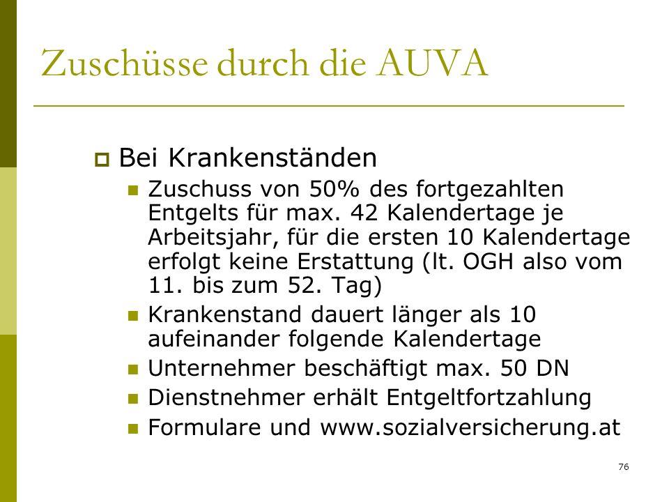 76 Zuschüsse durch die AUVA Bei Krankenständen Zuschuss von 50% des fortgezahlten Entgelts für max. 42 Kalendertage je Arbeitsjahr, für die ersten 10