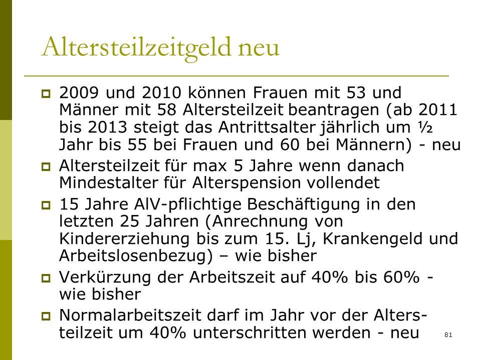 81 Altersteilzeitgeld neu 2009 und 2010 können Frauen mit 53 und Männer mit 58 Altersteilzeit beantragen (ab 2011 bis 2013 steigt das Antrittsalter jä