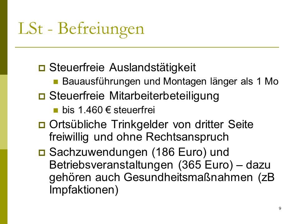 9 LSt - Befreiungen Steuerfreie Auslandstätigkeit Bauausführungen und Montagen länger als 1 Mo Steuerfreie Mitarbeiterbeteiligung bis 1.460 steuerfrei