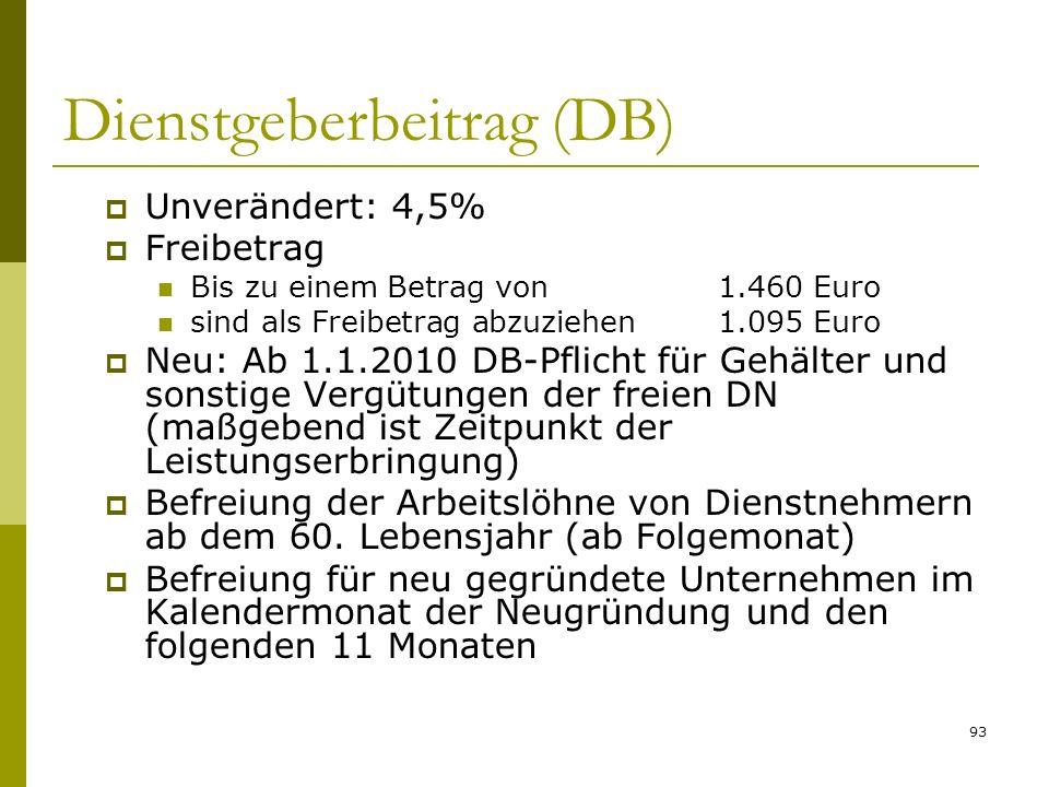 93 Dienstgeberbeitrag (DB) Unverändert: 4,5% Freibetrag Bis zu einem Betrag von1.460 Euro sind als Freibetrag abzuziehen1.095 Euro Neu: Ab 1.1.2010 DB