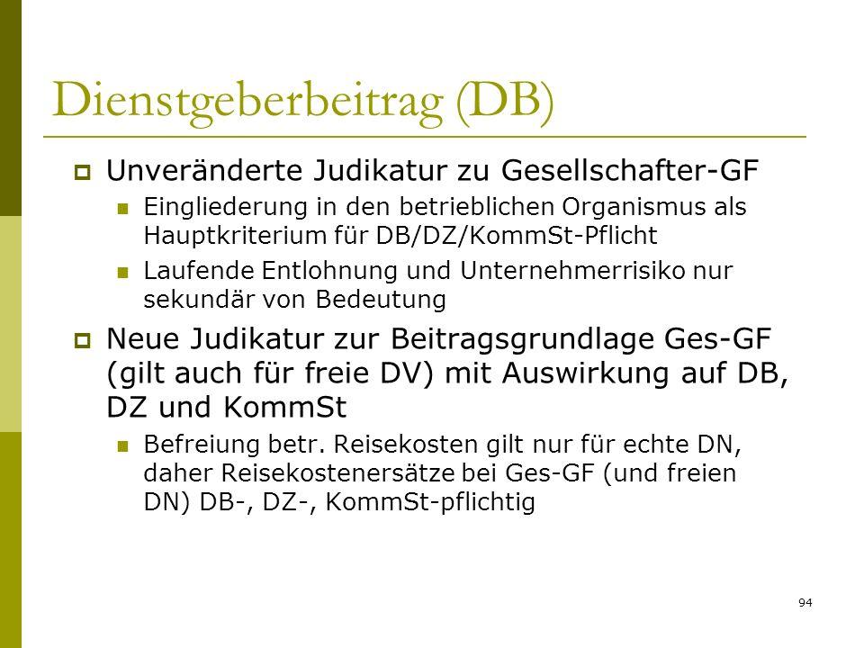 94 Dienstgeberbeitrag (DB) Unveränderte Judikatur zu Gesellschafter-GF Eingliederung in den betrieblichen Organismus als Hauptkriterium für DB/DZ/Komm