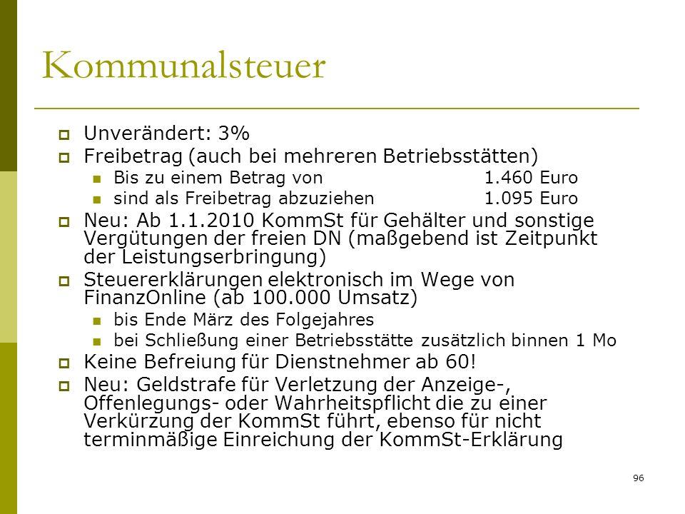 96 Kommunalsteuer Unverändert: 3% Freibetrag (auch bei mehreren Betriebsstätten) Bis zu einem Betrag von1.460 Euro sind als Freibetrag abzuziehen1.095