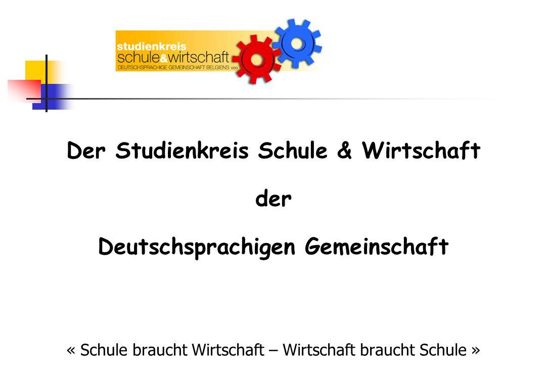 INHALT 1.Gründung des Studienkreises Schule & Wirtschaft in der DG 2.Ziele 3.Zielgruppen und Aufgaben 4.Arbeitsrahmen und Vorgehensweise 5.Aktionen und Realisierungen 6.Perspektiven 7.Zusammenarbeit und Kontakte