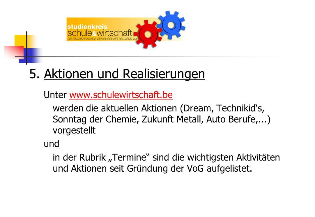 5. Aktionen und Realisierungen Unter www.schulewirtschaft.bewww.schulewirtschaft.be werden die aktuellen Aktionen (Dream, Technikids, Sonntag der Chem