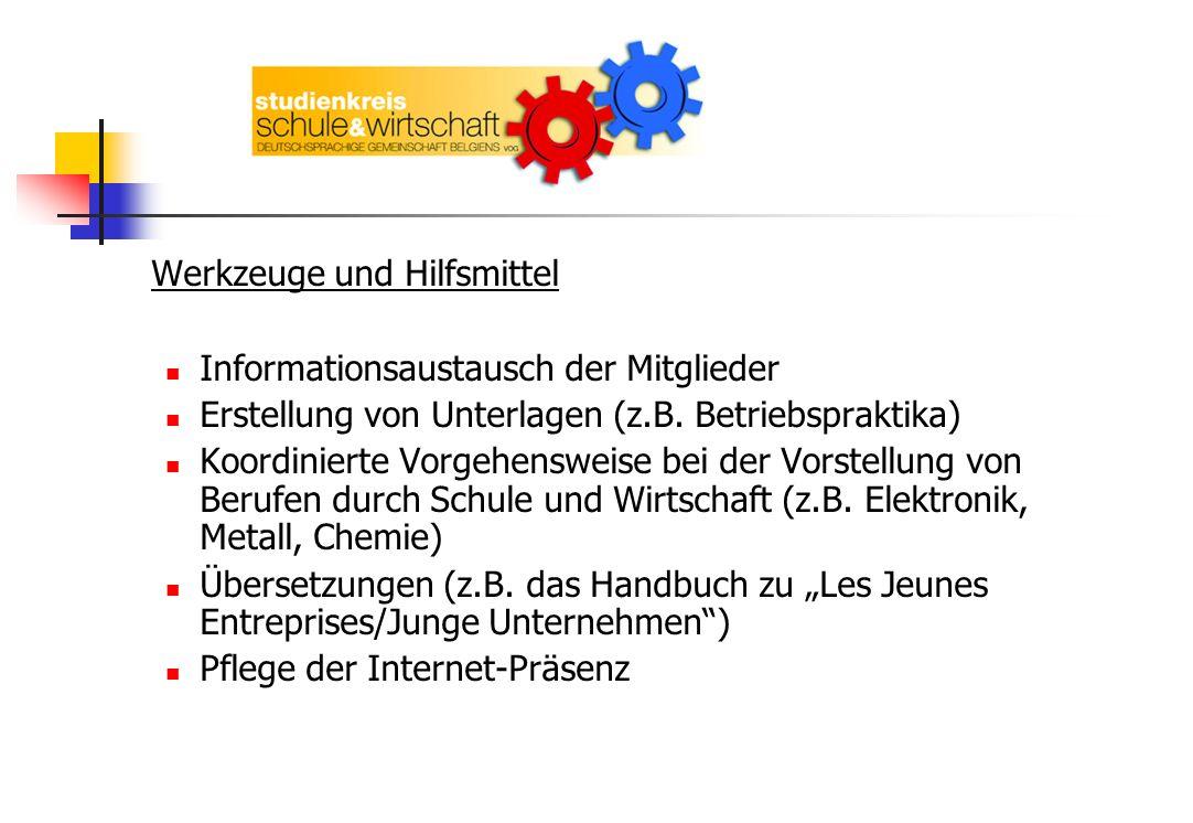Werkzeuge und Hilfsmittel Informationsaustausch der Mitglieder Erstellung von Unterlagen (z.B. Betriebspraktika) Koordinierte Vorgehensweise bei der V