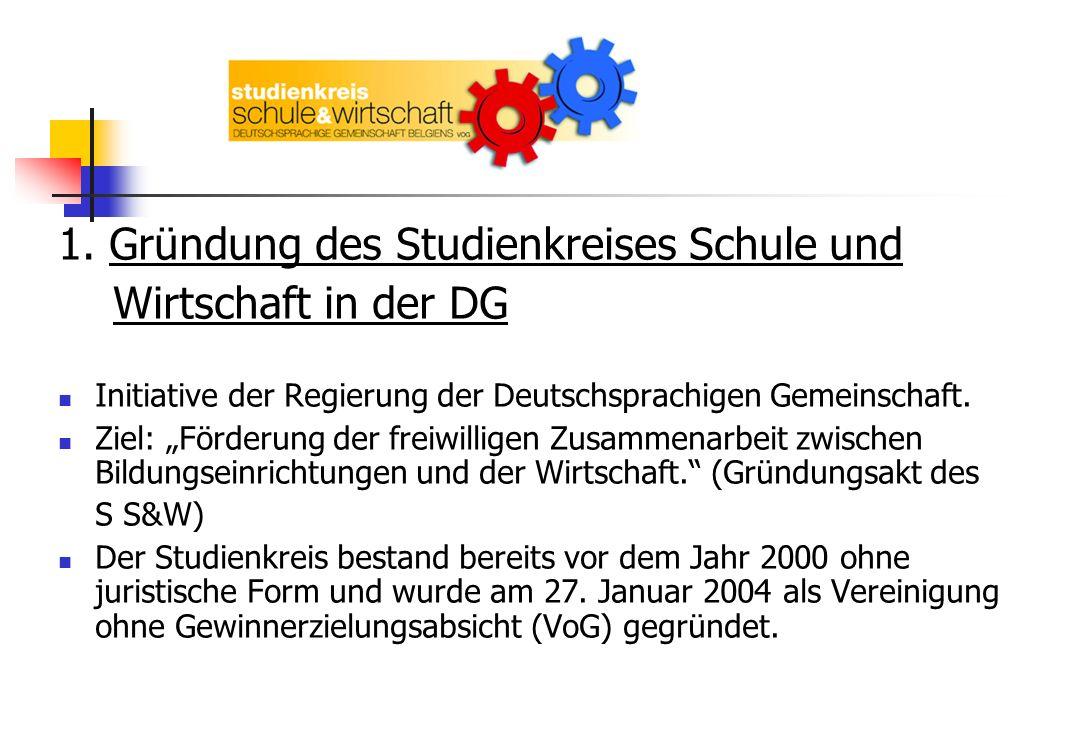 1. Gründung des Studienkreises Schule und Wirtschaft in der DG Initiative der Regierung der Deutschsprachigen Gemeinschaft. Ziel: Förderung der freiwi
