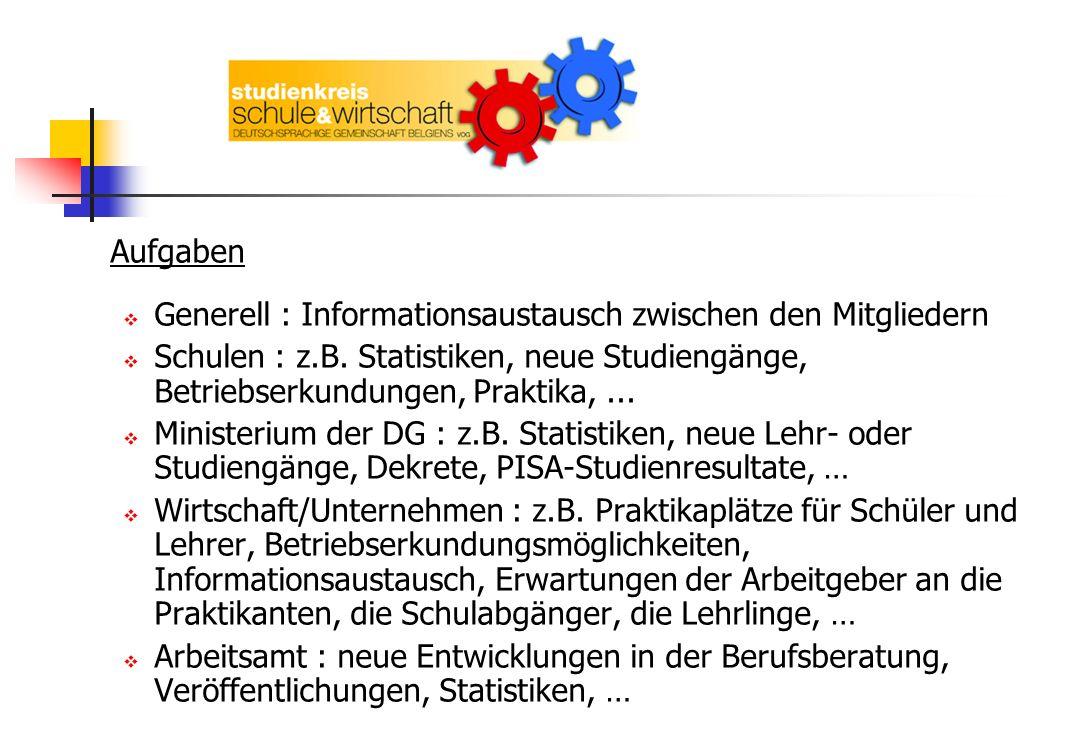 Aufgaben Generell : Informationsaustausch zwischen den Mitgliedern Schulen : z.B. Statistiken, neue Studiengänge, Betriebserkundungen, Praktika,... Mi