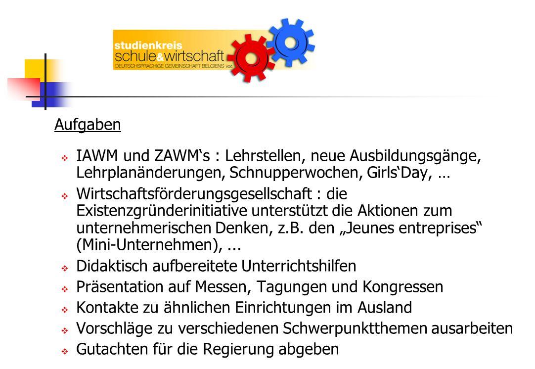 Aufgaben IAWM und ZAWMs : Lehrstellen, neue Ausbildungsgänge, Lehrplanänderungen, Schnupperwochen, GirlsDay, … Wirtschaftsförderungsgesellschaft : die