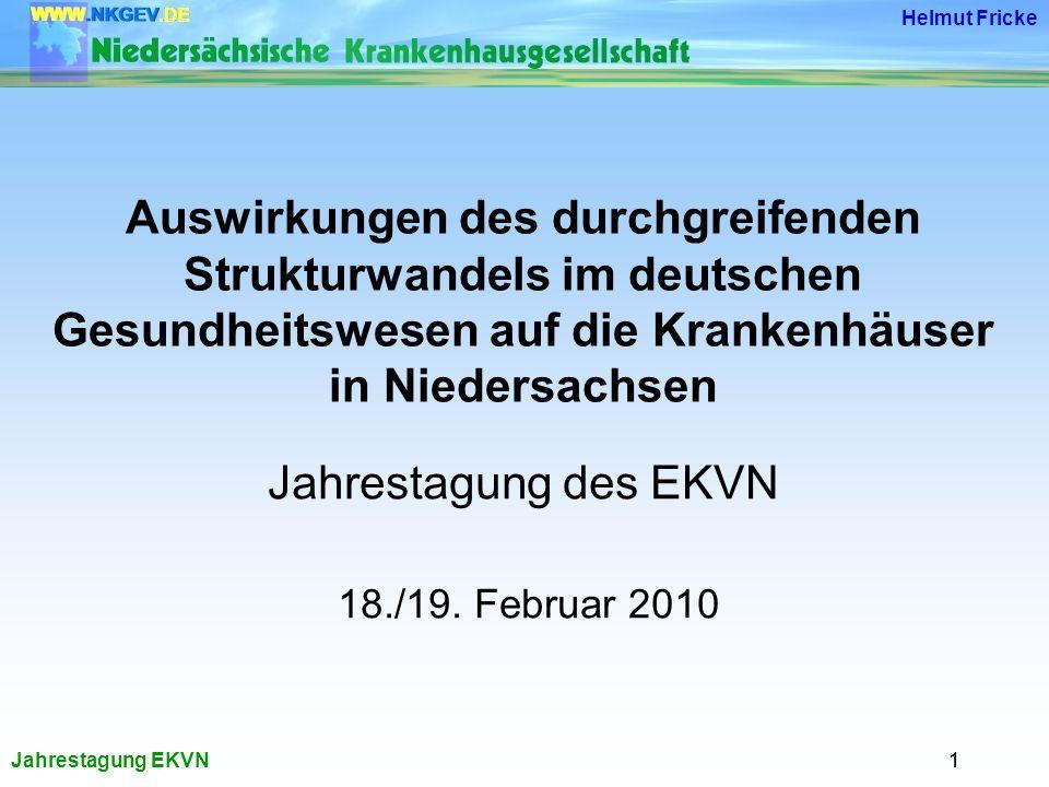 Jahrestagung EKVN Helmut Fricke 11 Auswirkungen des durchgreifenden Strukturwandels im deutschen Gesundheitswesen auf die Krankenhäuser in Niedersachsen Jahrestagung des EKVN 18./19.
