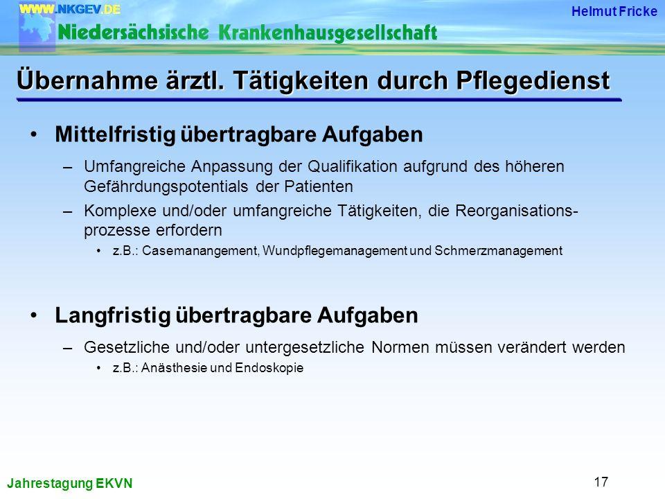 Jahrestagung EKVN Helmut Fricke 17 Übernahme ärztl.