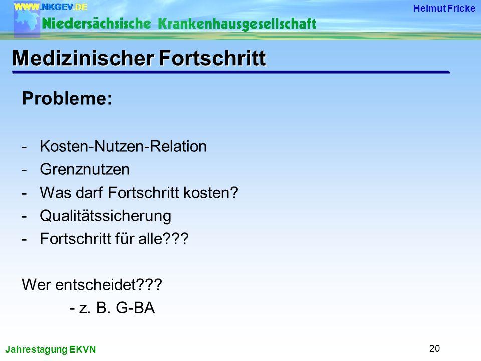 Jahrestagung EKVN Helmut Fricke 20 Probleme: -Kosten-Nutzen-Relation -Grenznutzen -Was darf Fortschritt kosten.