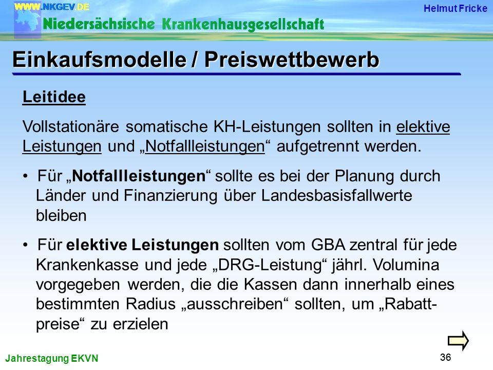Jahrestagung EKVN Helmut Fricke 36 Leitidee Vollstationäre somatische KH-Leistungen sollten in elektive Leistungen und Notfallleistungen aufgetrennt werden.