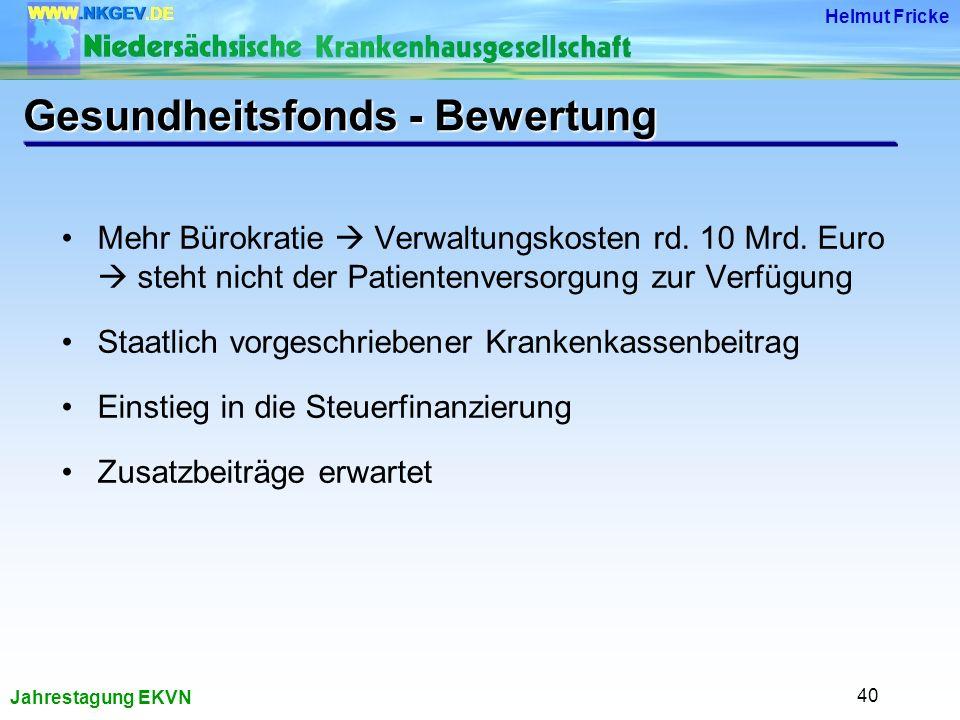Jahrestagung EKVN Helmut Fricke 40 Mehr Bürokratie Verwaltungskosten rd.