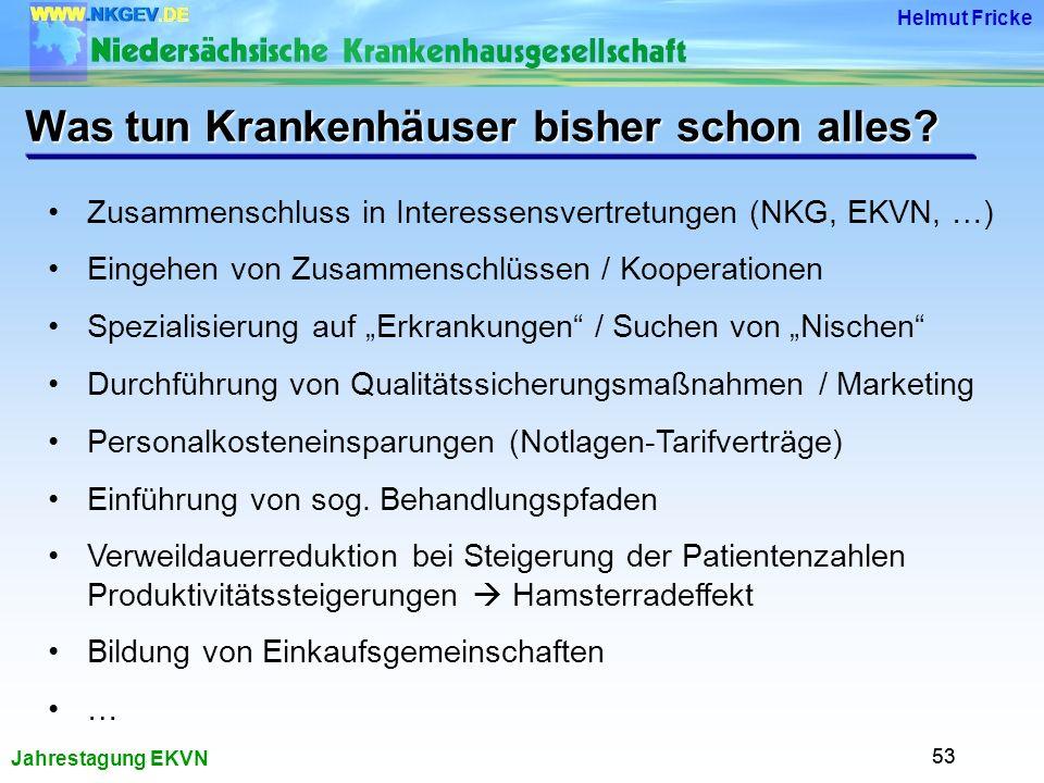 Jahrestagung EKVN Helmut Fricke 53 Was tun Krankenhäuser bisher schon alles.