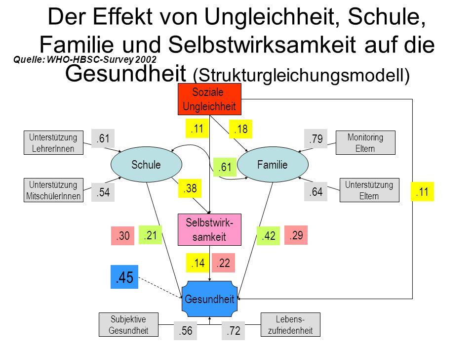 Der Effekt von Ungleichheit, Schule, Familie und Selbstwirksamkeit auf die Gesundheit (Strukturgleichungsmodell) SchuleFamilie Soziale Ungleichheit Se
