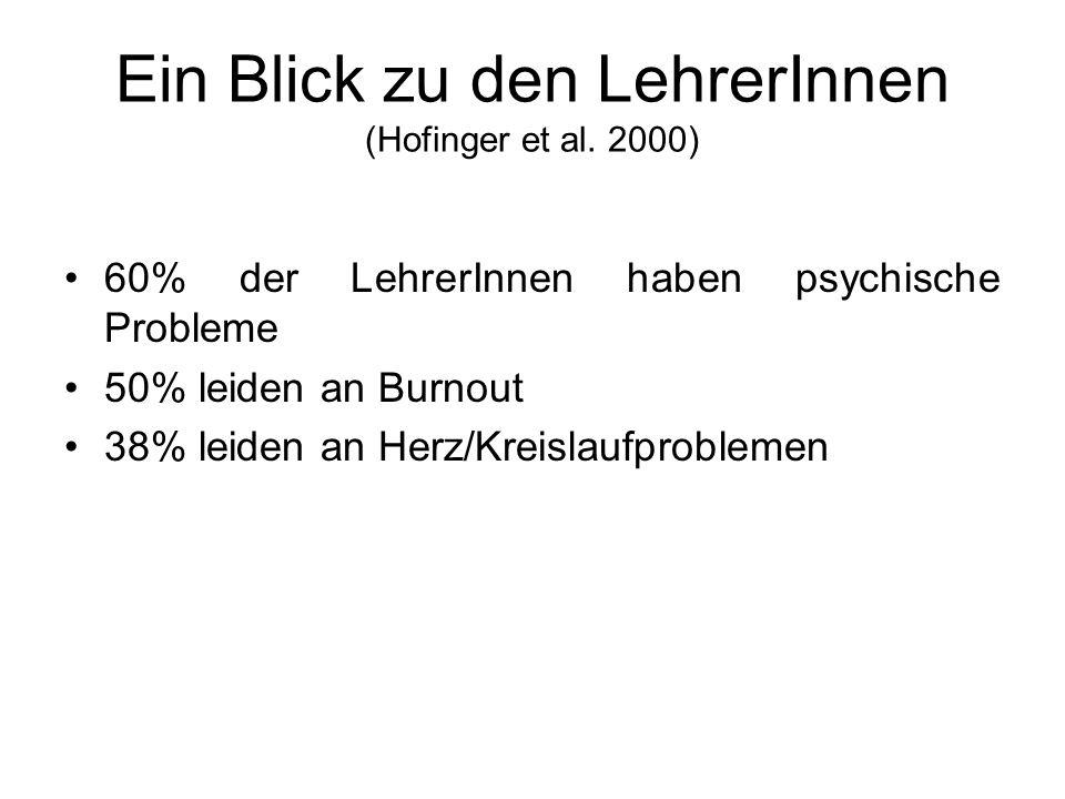 Ein Blick zu den LehrerInnen (Hofinger et al. 2000) 60% der LehrerInnen haben psychische Probleme 50% leiden an Burnout 38% leiden an Herz/Kreislaufpr