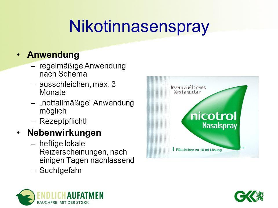 Nikotinnasenspray Anwendung –regelmäßige Anwendung nach Schema –ausschleichen, max. 3 Monate –notfallmäßige Anwendung möglich –Rezeptpflicht! Nebenwir