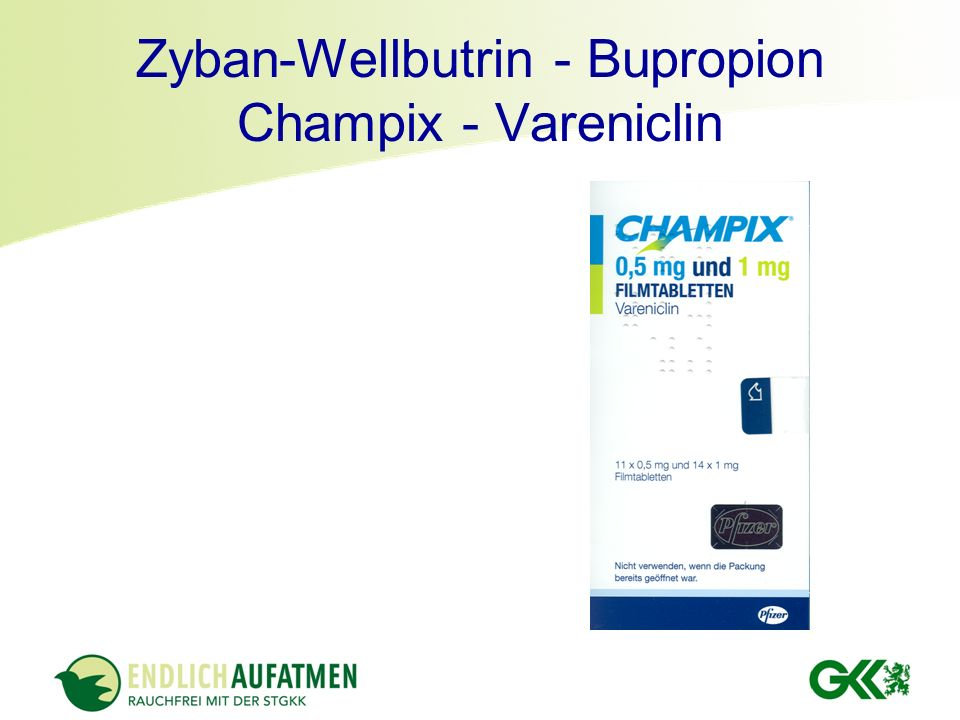 Zyban-Wellbutrin - Bupropion Champix - Vareniclin