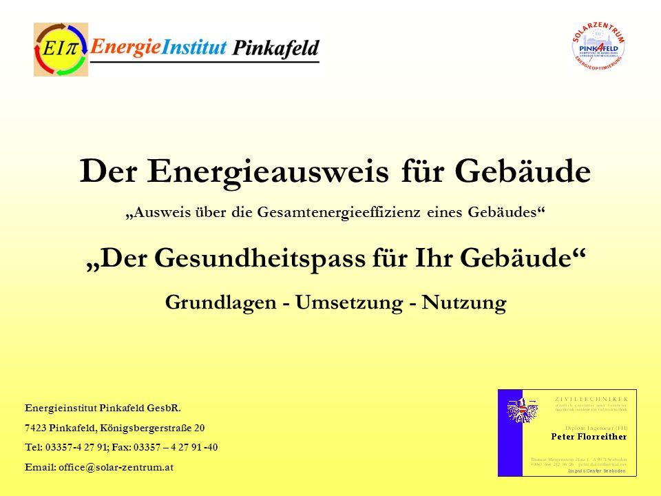 ist Grundlage zur Erlangung von Förderungen bei Neubauten und Sanierungen bei Alternativen Energiesystemen zeigt Einsparungspotentiale beim Energieeinsatz von Öl, Gas, Strom,...