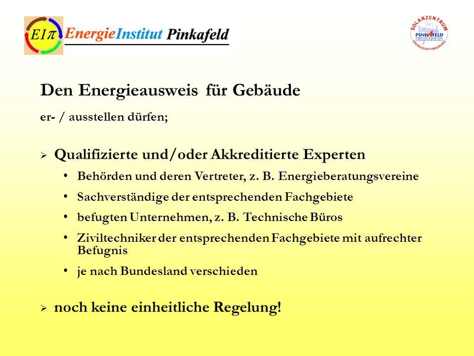Qualifizierte und/oder Akkreditierte Experten Behörden und deren Vertreter, z. B. Energieberatungsvereine Sachverständige der entsprechenden Fachgebie