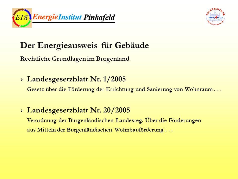 Landesgesetzblatt Nr. 1/2005 Gesetz über die Förderung der Errichtung und Sanierung von Wohnraum... Landesgesetzblatt Nr. 20/2005 Verordnung der Burge