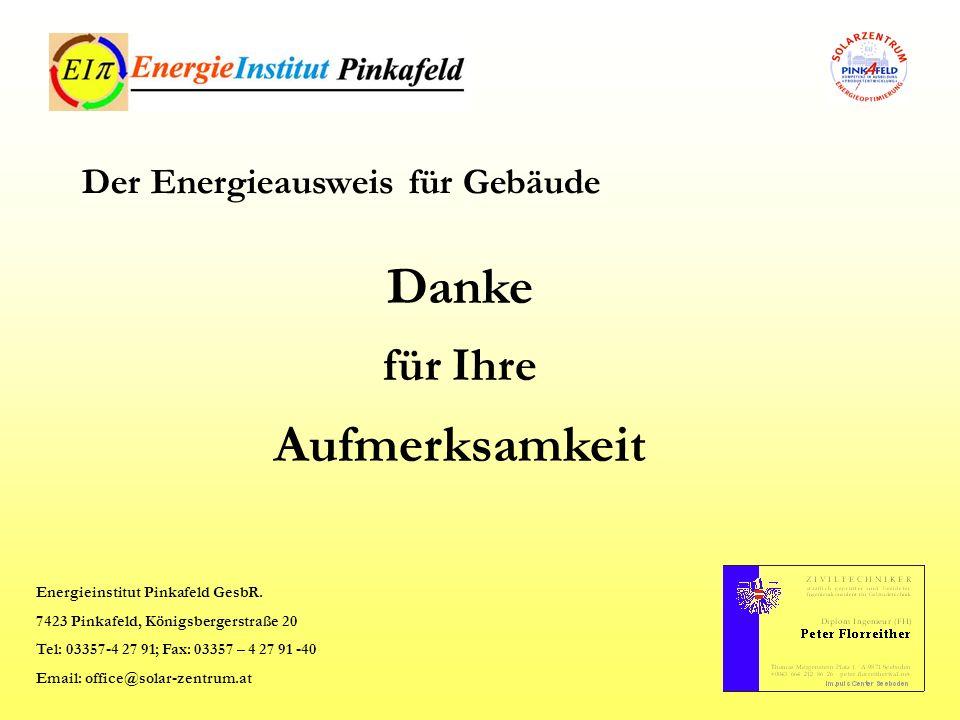 Danke für Ihre Aufmerksamkeit Der Energieausweis für Gebäude Energieinstitut Pinkafeld GesbR. 7423 Pinkafeld, Königsbergerstraße 20 Tel: 03357-4 27 91