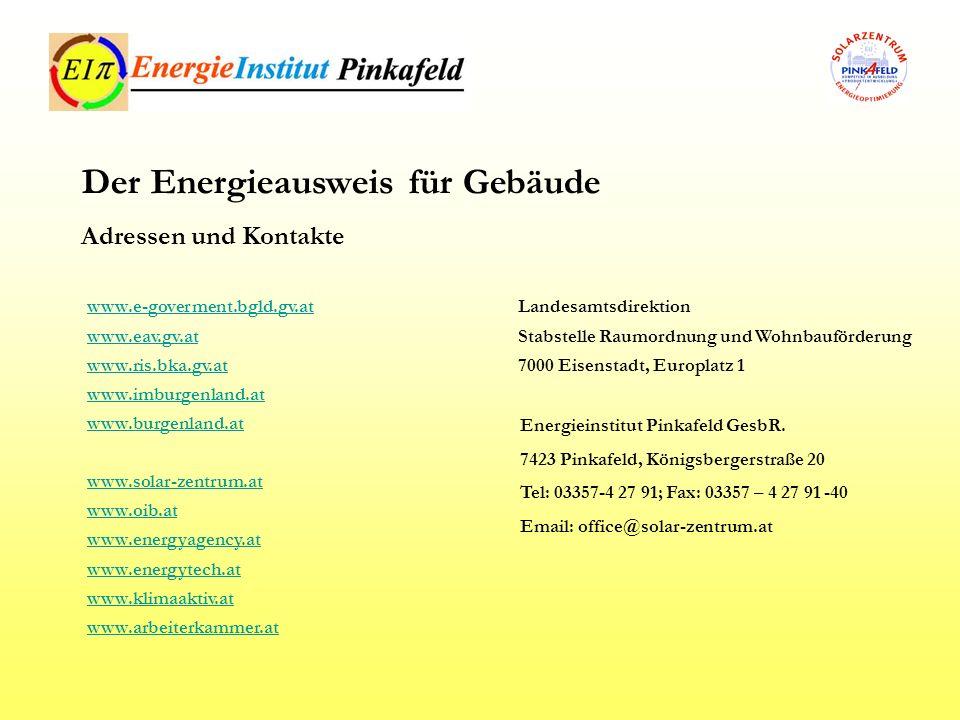 Landesamtsdirektion Stabstelle Raumordnung und Wohnbauförderung 7000 Eisenstadt, Europlatz 1 Der Energieausweis für Gebäude Adressen und Kontakte www.