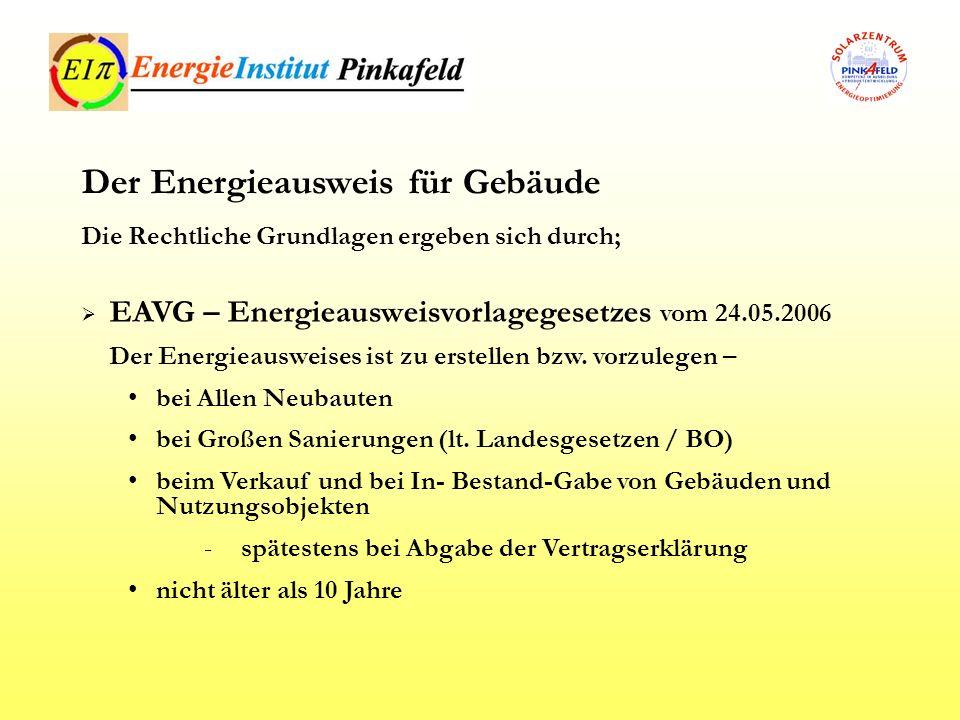 EAVG – Energieausweisvorlagegesetzes vom 24.05.2006 Der Energieausweises ist zu erstellen bzw. vorzulegen – bei Allen Neubauten bei Großen Sanierungen