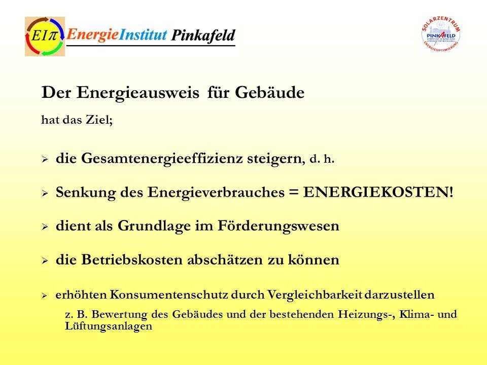die Gesamtenergieeffizienz steigern, d. h. Senkung des Energieverbrauches = ENERGIEKOSTEN! dient als Grundlage im Förderungswesen die Betriebskosten a