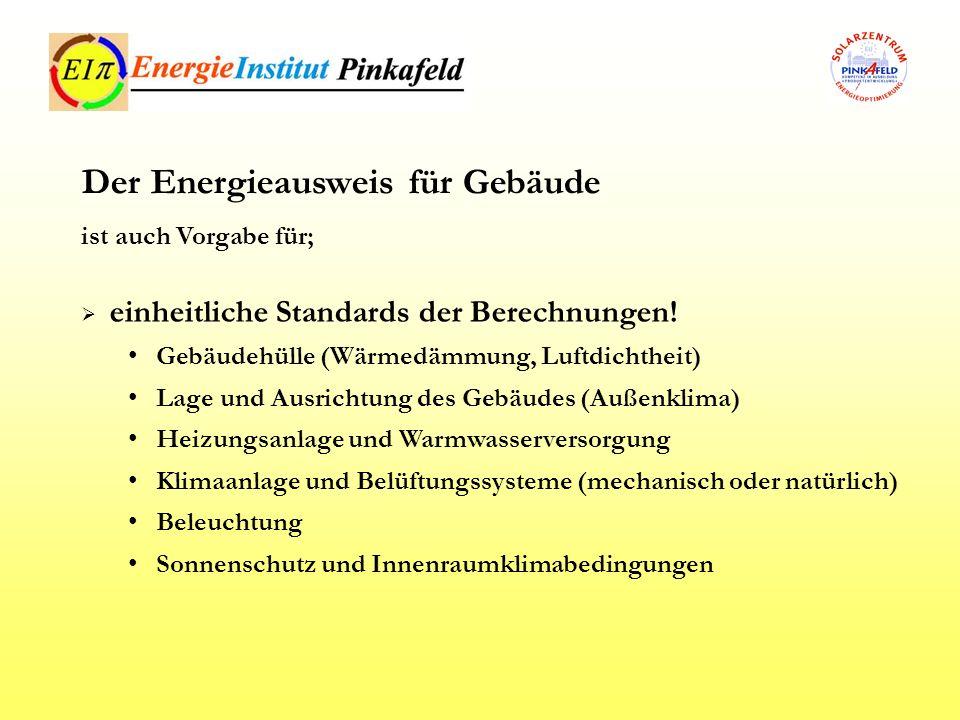 Regelmäßige Inspektion von Heizkesselanlagen Regelmäßige Inspektion von Klima- und Lüftungsanlagen verstärkter Einsatz alternativer Energiesysteme Dezentrale Energieversorgungssysteme mit erneuerbarer Energieträger Fern- / Blockheizung oder Fern- / Blockkühlung Wärmepumpenanlagen Der Energieausweis für Gebäude als Teil zur Gesamtenergieeffizienzsteigerung, dazu ist notwendig;