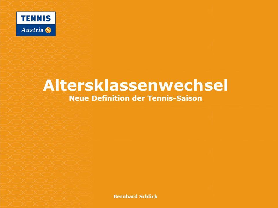 Altersklassenwechsel Neue Definition der Tennis-Saison Bernhard Schlick