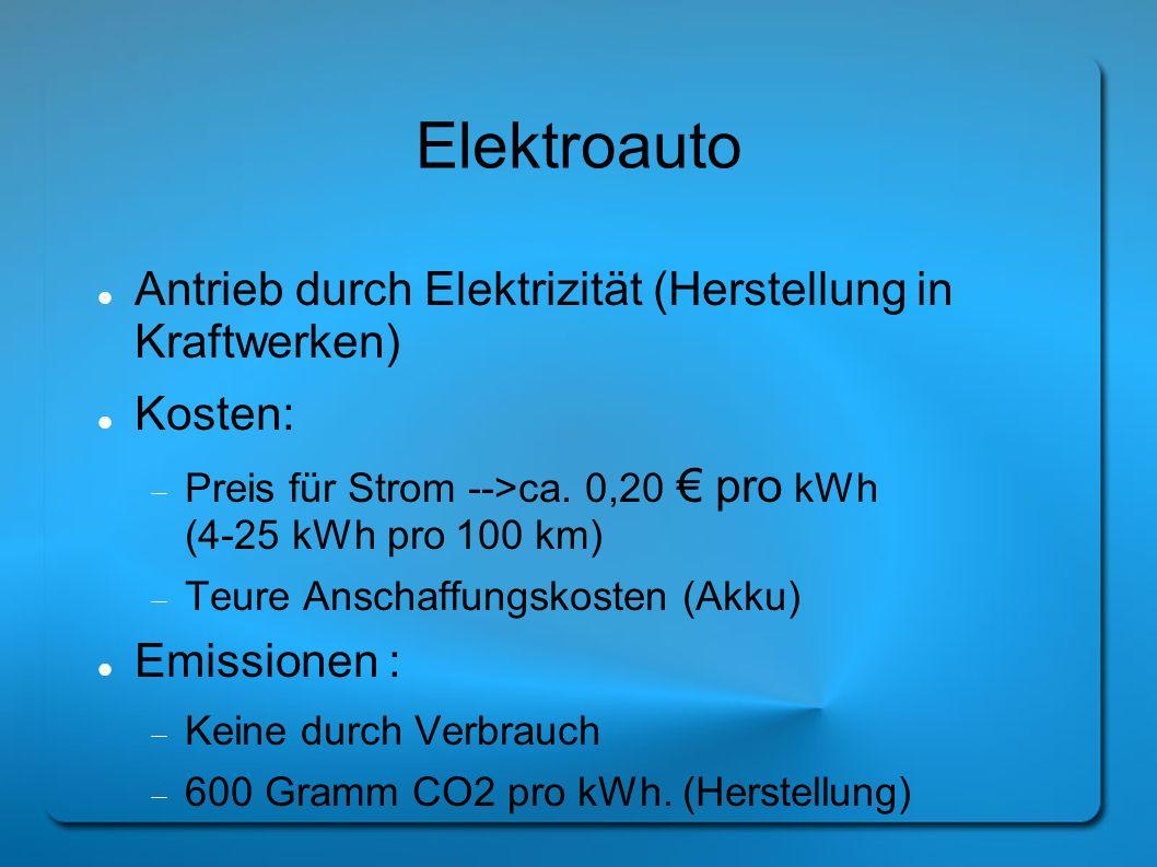 Elektroauto Antrieb durch Elektrizität (Herstellung in Kraftwerken) Kosten: Preis für Strom -->ca. 0,20 pro kWh (4-25 kWh pro 100 km) Teure Anschaffun