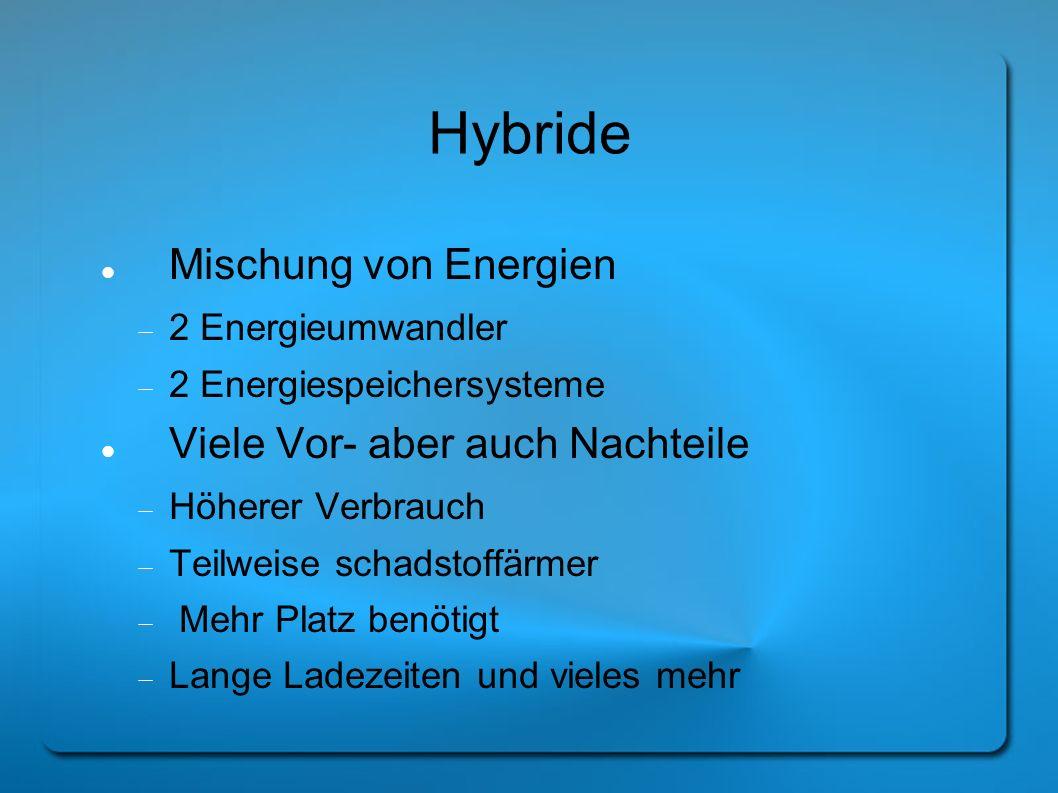 Hybride Mischung von Energien 2 Energieumwandler 2 Energiespeichersysteme Viele Vor- aber auch Nachteile Höherer Verbrauch Teilweise schadstoffärmer M