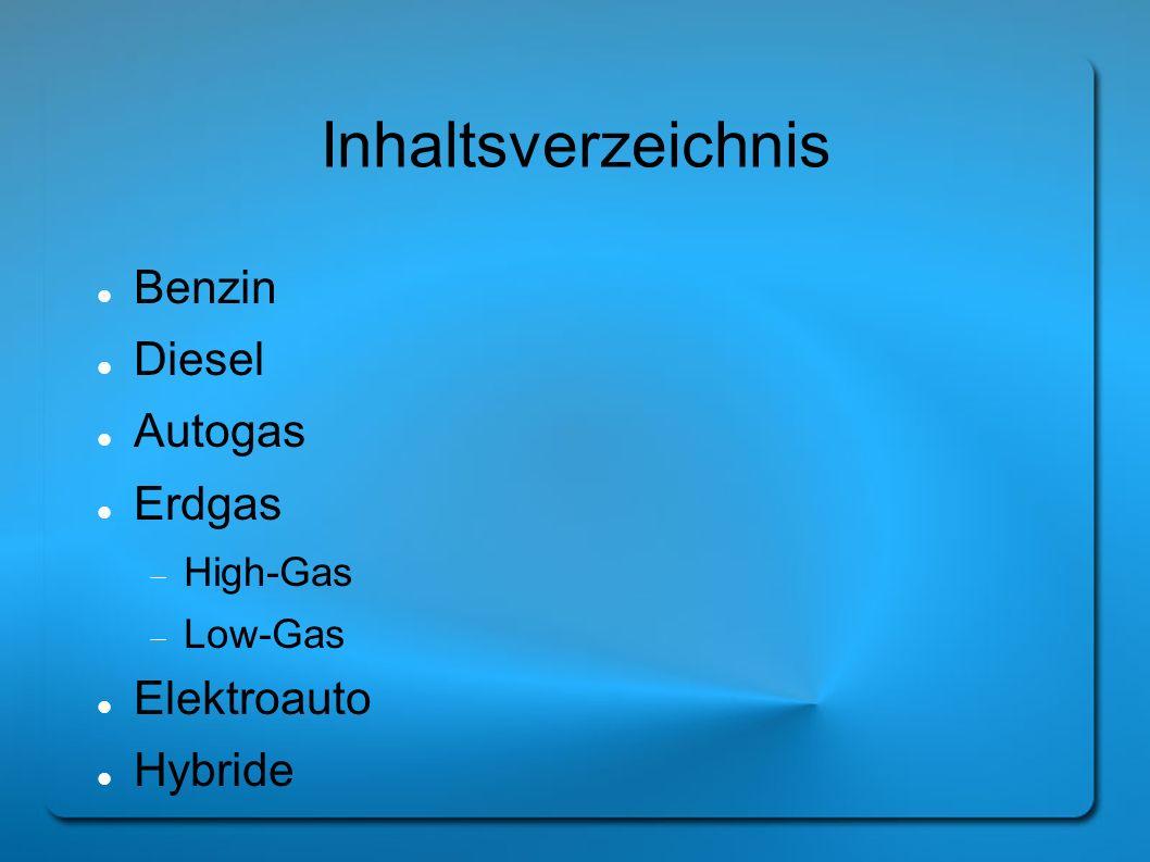 Inhaltsverzeichnis Benzin Diesel Autogas Erdgas High-Gas Low-Gas Elektroauto Hybride