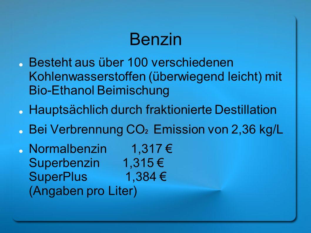 Benzin Besteht aus über 100 verschiedenen Kohlenwasserstoffen (überwiegend leicht) mit Bio-Ethanol Beimischung Hauptsächlich durch fraktionierte Desti