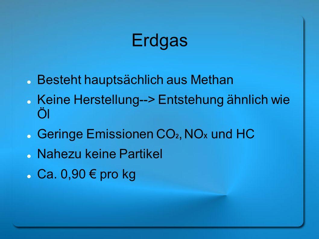 Erdgas Besteht hauptsächlich aus Methan Keine Herstellung--> Entstehung ähnlich wie Öl Geringe Emissionen CO 2, NO X und HC Nahezu keine Partikel Ca.