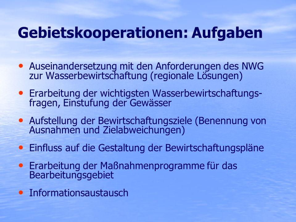 Gebietskooperationen: Aufgaben Auseinandersetzung mit den Anforderungen des NWG zur Wasserbewirtschaftung (regionale Lösungen) Erarbeitung der wichtig