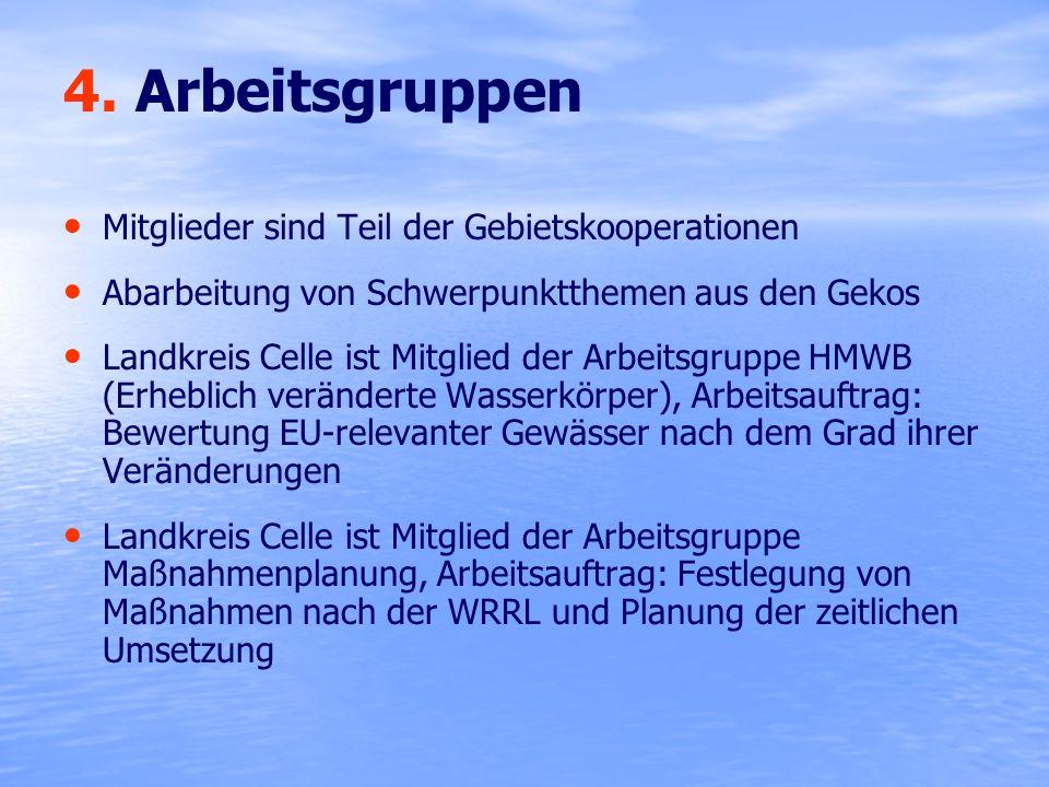 4. Arbeitsgruppen Mitglieder sind Teil der Gebietskooperationen Abarbeitung von Schwerpunktthemen aus den Gekos Landkreis Celle ist Mitglied der Arbei
