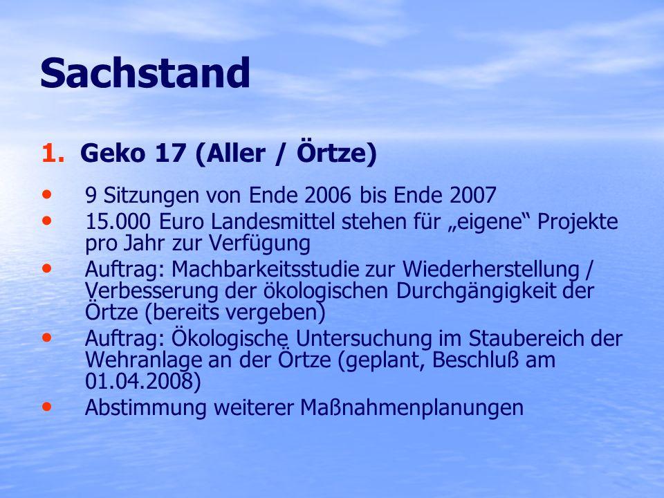 Sachstand 1. Geko 17 (Aller / Örtze) 9 Sitzungen von Ende 2006 bis Ende 2007 15.000 Euro Landesmittel stehen für eigene Projekte pro Jahr zur Verfügun