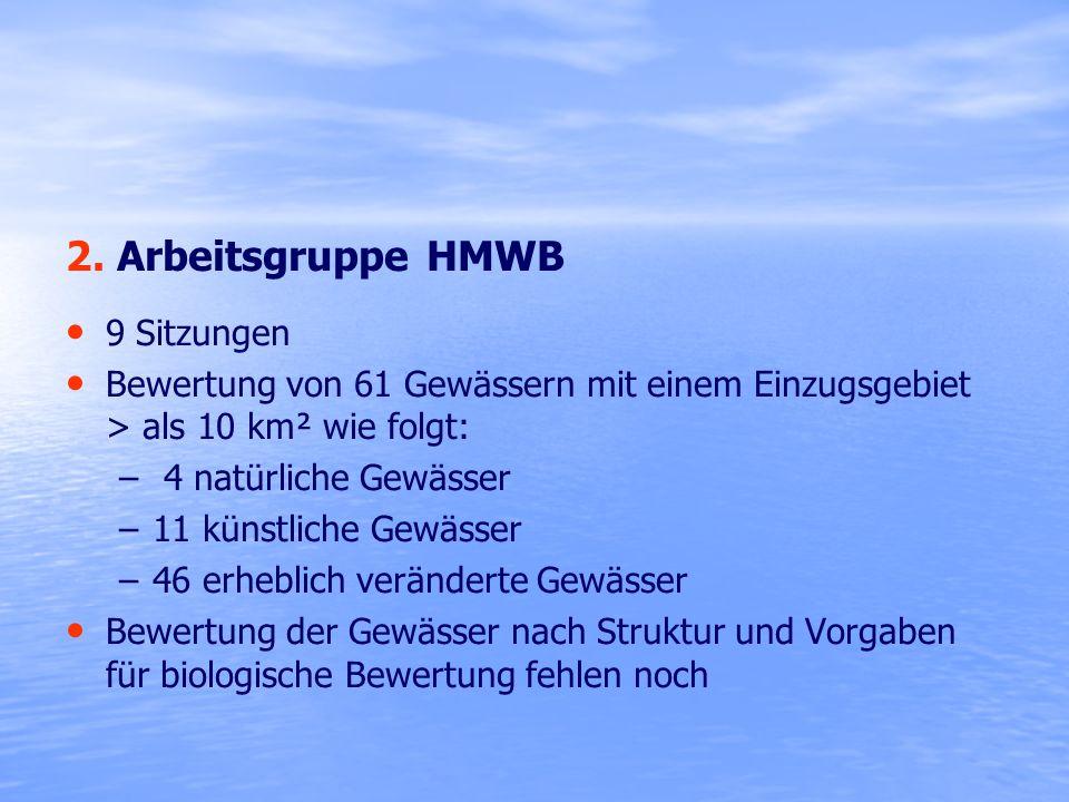 2. Arbeitsgruppe HMWB 9 Sitzungen Bewertung von 61 Gewässern mit einem Einzugsgebiet > als 10 km² wie folgt: – – 4 natürliche Gewässer – –11 künstlich