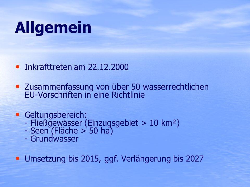 Allgemein Inkrafttreten am 22.12.2000 Zusammenfassung von über 50 wasserrechtlichen EU-Vorschriften in eine Richtlinie Geltungsbereich: - Fließgewässe