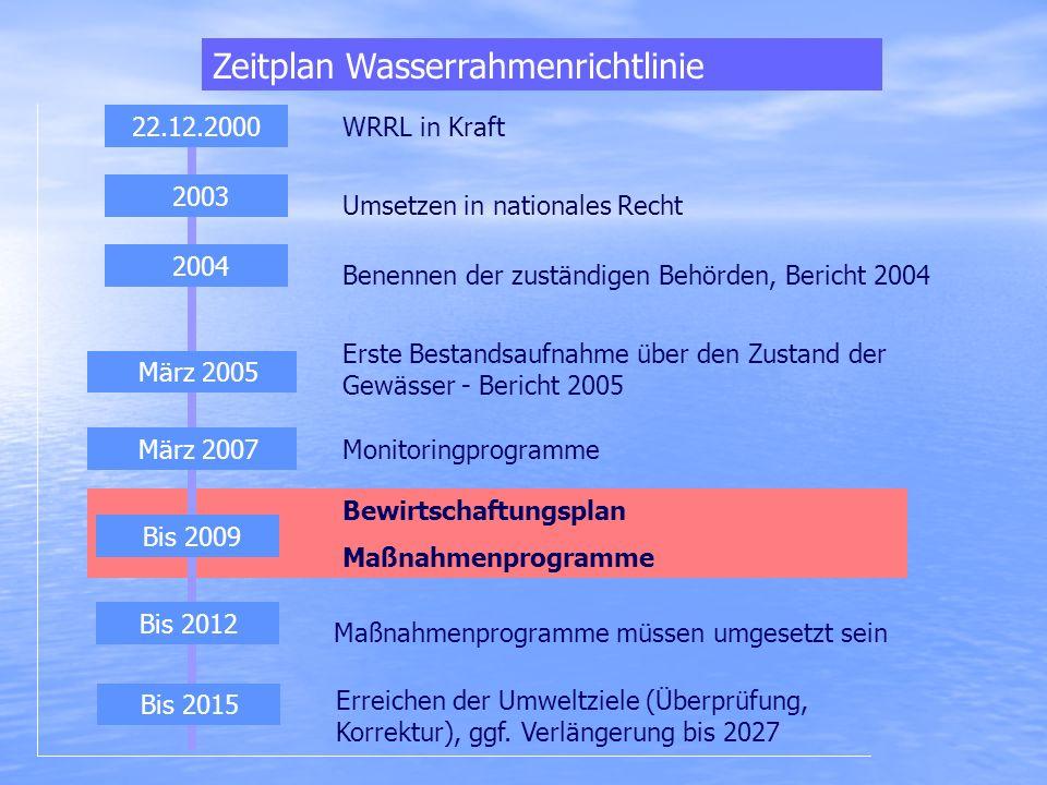 Bewirtschaftungsplan Maßnahmenprogramme Zeitplan Wasserrahmenrichtlinie März 2007 Bis 2009 2003 WRRL in Kraft Umsetzen in nationales Recht Benennen de