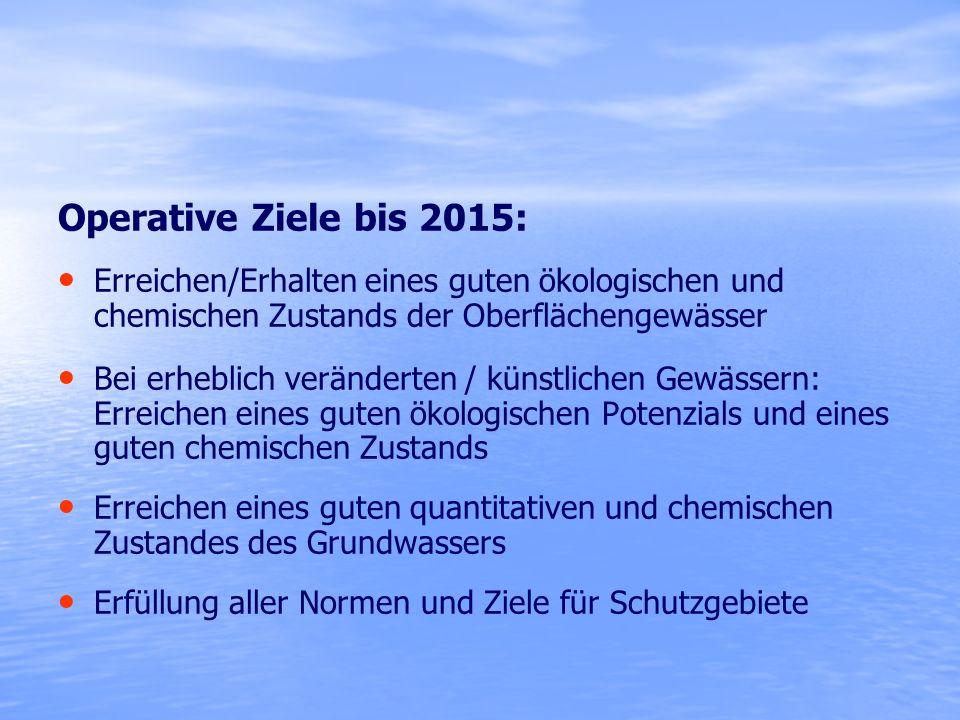 Operative Ziele bis 2015: Erreichen/Erhalten eines guten ökologischen und chemischen Zustands der Oberflächengewässer Bei erheblich veränderten / küns
