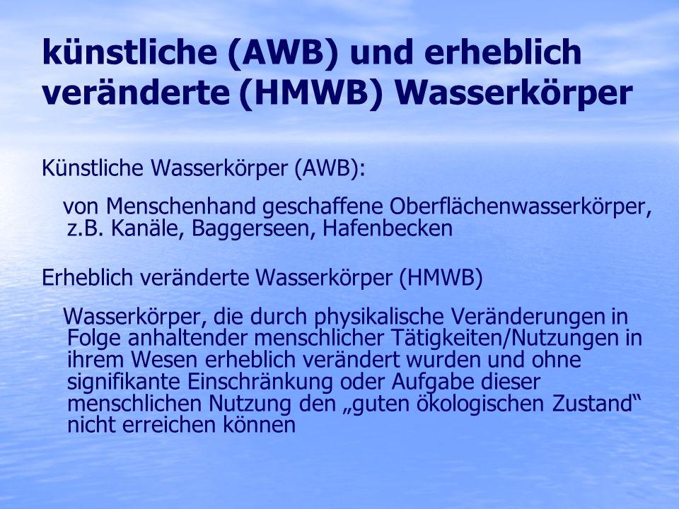 künstliche (AWB) und erheblich veränderte (HMWB) Wasserkörper Künstliche Wasserkörper (AWB): von Menschenhand geschaffene Oberflächenwasserkörper, z.B