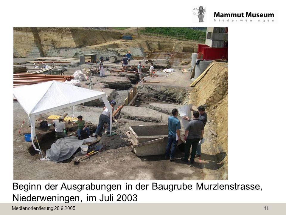 Medienorientierung 28.9.2005 11 Beginn der Ausgrabungen in der Baugrube Murzlenstrasse, Niederweningen, im Juli 2003