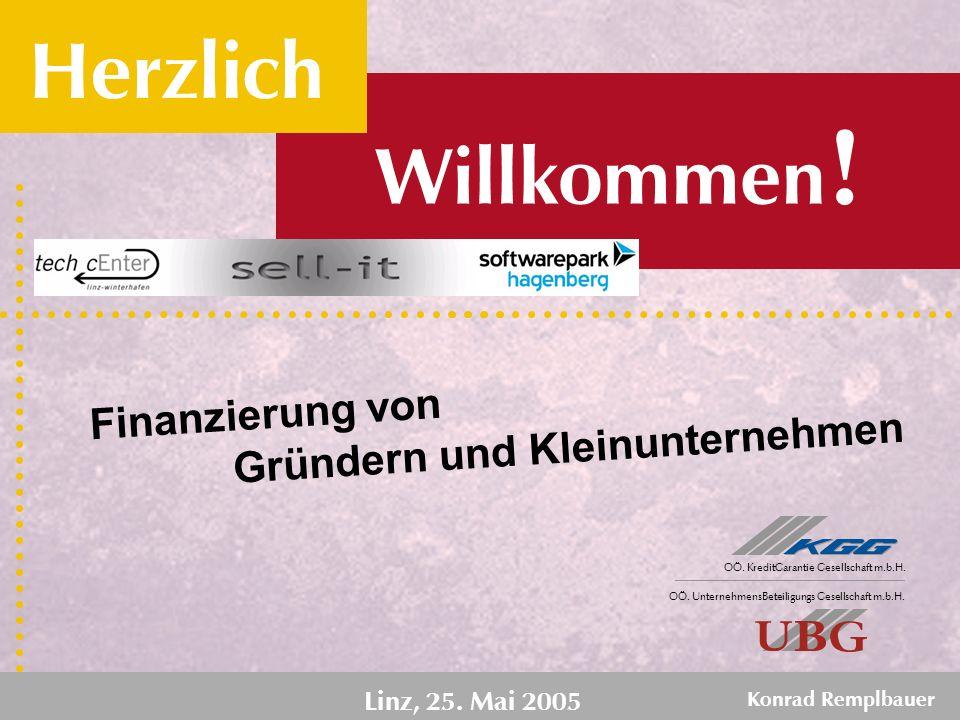 M i t u n s k ö n n e n S i e r e c h n e n. Finanzierung von Linz, 25. Mai 2005 Konrad Remplbauer Willkommen ! Herzlich Gründern und Kleinunternehmen