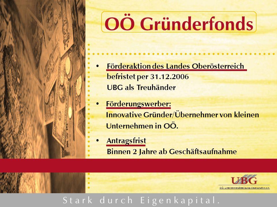 M i t u n s k ö n n e n S i e r e c h n e n. OÖ. UnternehmensBeteiligungs Gesellschaft m.b.H. OÖ Gründerfonds Förderaktion des Landes Oberösterreich b