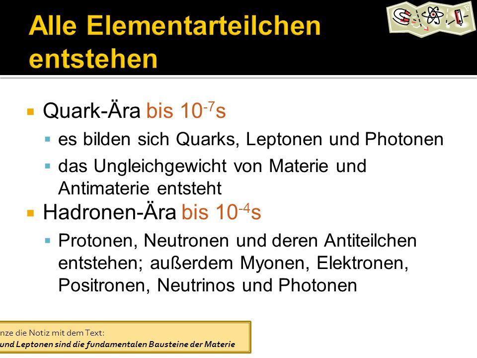 Quark-Ära bis 10 -7 s es bilden sich Quarks, Leptonen und Photonen das Ungleichgewicht von Materie und Antimaterie entsteht Hadronen-Ära bis 10 -4 s Protonen, Neutronen und deren Antiteilchen entstehen; außerdem Myonen, Elektronen, Positronen, Neutrinos und Photonen Ergänze die Notiz mit dem Text: Quarks und Leptonen sind die fundamentalen Bausteine der Materie