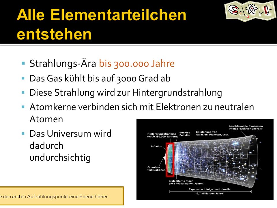 Strahlungs-Ära bis 300.000 Jahre Das Gas kühlt bis auf 3000 Grad ab Diese Strahlung wird zur Hintergrundstrahlung Atomkerne verbinden sich mit Elektronen zu neutralen Atomen Das Universum wird dadurch undurchsichtig Stufe den ersten Aufzählungspunkt eine Ebene höher.