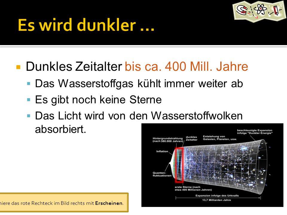 Dunkles Zeitalter bis ca.400 Mill.